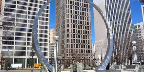 Hart Plaza wedding Detroit
