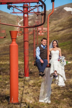 Alpenglow at Arctic Valley wedding Alaska