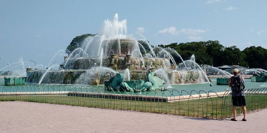 North Rose Garden at Buckingham Fountain wedding Chicago