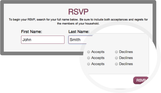 Create online RSVPs for your wedding