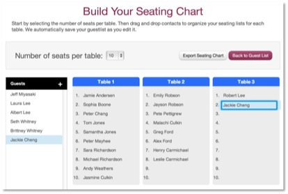 Build your wedding seating chart